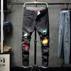 New hole jeans men's patch color Korean men's trousers Slim denim pants tide black 28