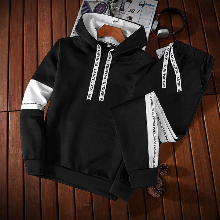 Men jacket Zipper Hoodies Sweatshirts Bodybulding pants Jogger Fitness Pencil Pantsm Sporting Suits black m
