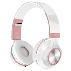 Wireless Headset Bluetooth Headset Foldable with Microphone Sports Headphones rose gold