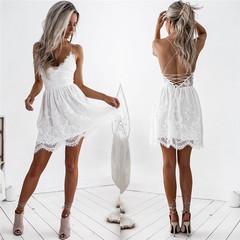 Fashion Sexy White Dress Lace Panel Sling Halter Women's Clothes Strap Dress s white