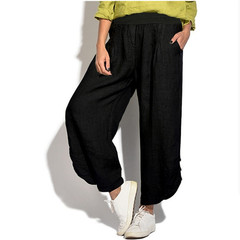 2019 hot cotton and linen trousers loose trousers comfortable pants ladies trousers black s