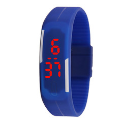 Thin band LED bracelet watch fashion touch electronic student gift watch blue one size