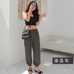Pants female summer ice silk sunscreen pants chiffon pants bloomers women's trousers gray One size code (40-75 kg)