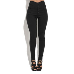 New fashion women's stretch pencil pants high waist tight solid color simple jeans casual trousers black s
