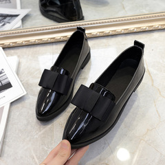 2019 new patent leather fashion ladies high heels comfortable breathable pointed shoes black 36