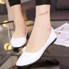 Women's Falt Shoes PU Leather Fashion Casual Shoes Women's Solid Color Roman Style Ballet Flats white 41