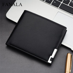 New fashion men's artificial leather pocket wallet casual square wallet multi-card retro wallet black one size
