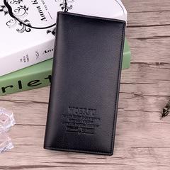 PU leather 3 color men's wallet long multi-function men's wallet black card bag men's solid pocket black one size