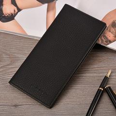 Business Men's Clutch Bag Coin Purse Men's Long PU Leather Wallet Men's Vintage Card Pack black one size