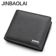 Luxury 100% leather wallet fashion short bi-fold men's wallet with coin pocket wallet men's wallet black one size
