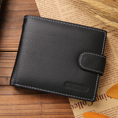 Fashion leather men's wallet zipper wallet leather famous brand high quality men's wallet wallet black one size