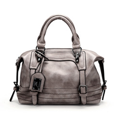 2019 new women's leather handbag large-capacity shoulder bag ladies belt buckle shopping tote bag gray one size
