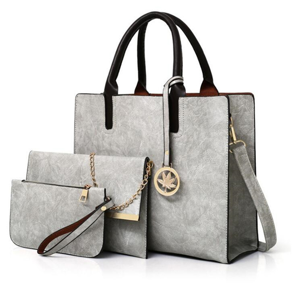 Female bag 3 piece set PU handbag large handbag lady shoulder bag handbag Messenger bag purse gray one size