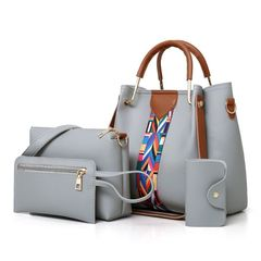 Fashion 4 / set ladies and women's leather shoulder bag handbag shoulder bag top handbag purse new gray one size