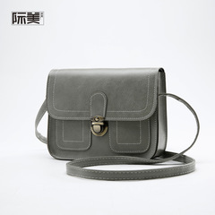 Retro ladies shoulder bag small square daily shopping Messenger bag ladies Messenger bag gray one size