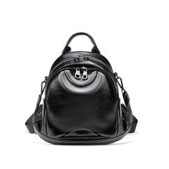 Women's fashion backpack oil wax leather backpack bag purse travel shoulder bag handbag black one size
