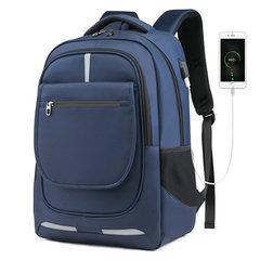 Men's Travel Backpack Large Capacity Men's Backpack USB Charging Backpack Waterproof blue one size