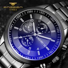 Luxury brand men's watch chronograph men's sports watch waterproof all steel men's watch blue one size