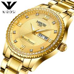Men's Watch Top Brand Luxury Sports Watch Date Week Waterproof Quartz Watch Men's Clock golden one size