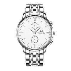 Men's Watch New ORLANDO Fashion Quartz Watch Men's Silver Plated Stainless Steel Watch white one size