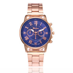 Luxury brand business quartz watch ladies watch stainless steel casual ladies watch clock men blue one size