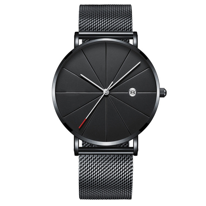2019 high quality new fashion black quartz watch mesh stainless steel strap casual watch black one size