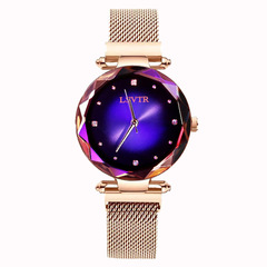 2019 fashion watch ladies luxury rose gold ladies watch magnet waterproof clock relogio female blue one size