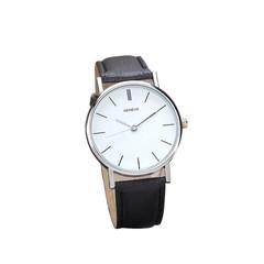 Quartz watch women's retro Designl watch female round straight watch leather hot women's models black one size