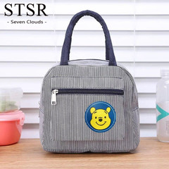 STSR Ladies Striped Dot Portable Lunch Bag Food Safety Warm Lunch Bag Lady Handbag Carrying Case gray 195mm*240mm*140mm