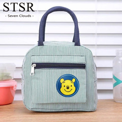 STSR Ladies Striped Dot Portable Lunch Bag Food Safety Warm Lunch Bag Lady Handbag Carrying Case green 195mm*240mm*140mm
