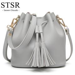 STSR Female handbag Korean version of the handbag casual shoulder bag ladies bucket handbags gray one size