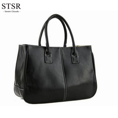 STSR Leather shoulder bag fashion ladies Messenger bag handbag 2019 women's Messenger bag ladies black 32cm*13cm*25cm