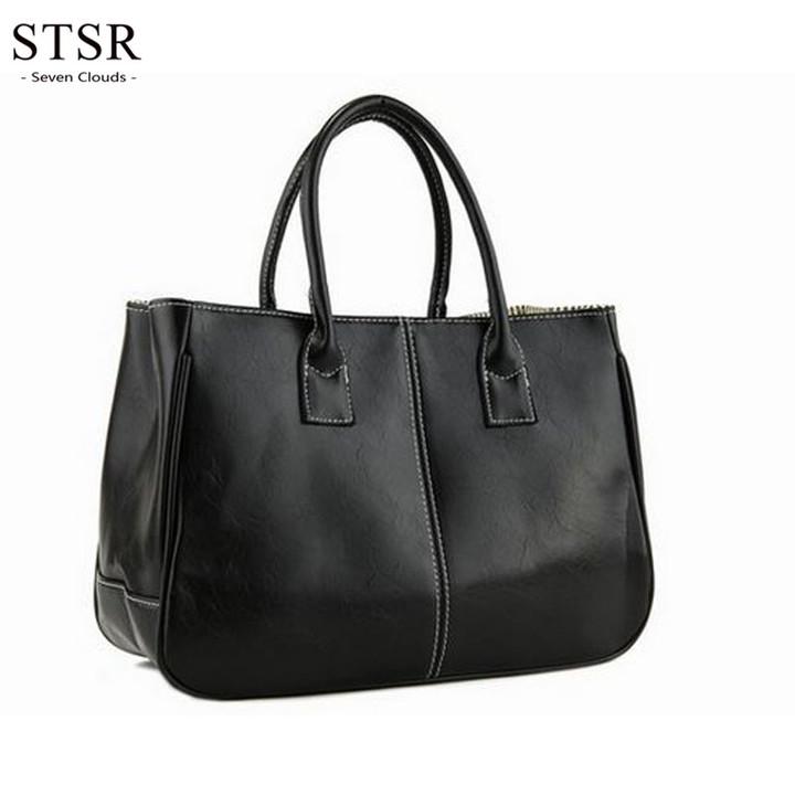 STSR Leather shoulder bag fashion ladies Messenger bag handbag 2019 women's Messenger bag ladies black 32cm*13cm*25cm