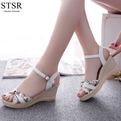STSR 2019 Wedge Sandals Women's Shoes Buckle Strap Solid Comfortable Fashion Sandals white 35