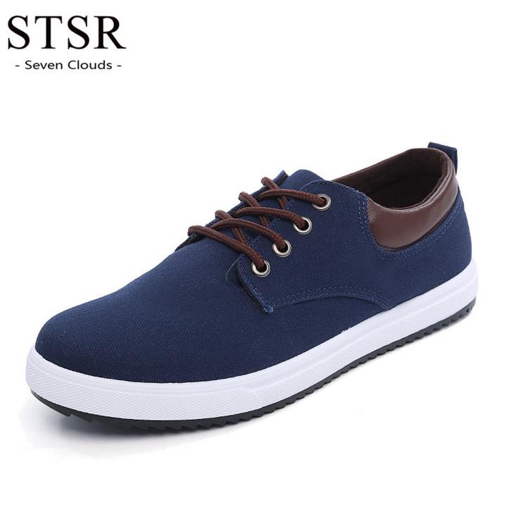 STSR New 2019 men's canvas shoes sports shoes flat comfortable sports shoes casual shoes blue 39