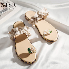 STSR 2019 summer flat sandals women's slippers flat shoes fashion beaded women's shoes Pineapple lace 37