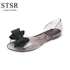 STSR Women's Sandals Jelly Shoes Ms. Crystal Flat Beach Women's Shoes Slippers 2019 black 36