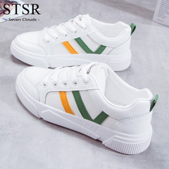 STSR 2019 fashion women's sports shoes breathable flat women's shoes women's canvas shoes White green 35
