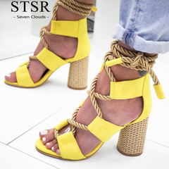 STSR 2019 women's wedge sandals high heel pointed fish mouth sandals ladies sandals large size yellow 35