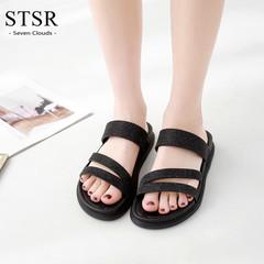 STSR Women's Slippers Summer Soft Slippers Women's Slippers Chaussures Femme Buty Damskie black 36
