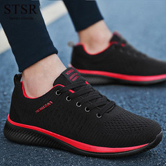 STSR Men's casual shoes men's shoes comfortable 2019 new breathable hiking shoes black red 39