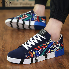 STSR New men's casual canvas shoes fashion printed sneakers flat shoes non-slip shoes blue 39