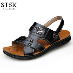 STSR 2019 new leather sandals men's shoes fashion comfortable leather sandals slippers black 38