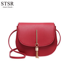 STSR Fashion bag ladies 2019 tassel solid Messenger bag ladies PU leather Messanger bag red one size