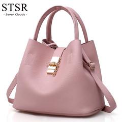 STSR Popular hot ladies fashion leather shoulder bag buns mother bag with handbag pink one size