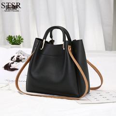 STSR Brand fashion tassel exquisite handbags ladies retro large casual handbag tassel handbag black one size