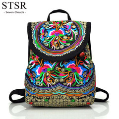 STSR Women's full flower embroidery canvas backpack youth bag retro embroidery travel backpack 1 one size