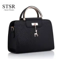 STSR Leather Clutch Bag Female Handbag Luxury Beach Tote Ms. Fringe Shoulder Bag Tote gray one size 2