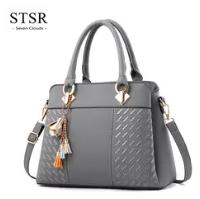 STSR Leather Clutch Bag Female Handbag Luxury Beach Tote Ms. Fringe Shoulder Bag Tote gray one size 4