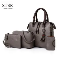 STSR Leather Clutch Bag Female Handbag Luxury Beach Tote Ms. Fringe Shoulder Bag Tote gray one size 6